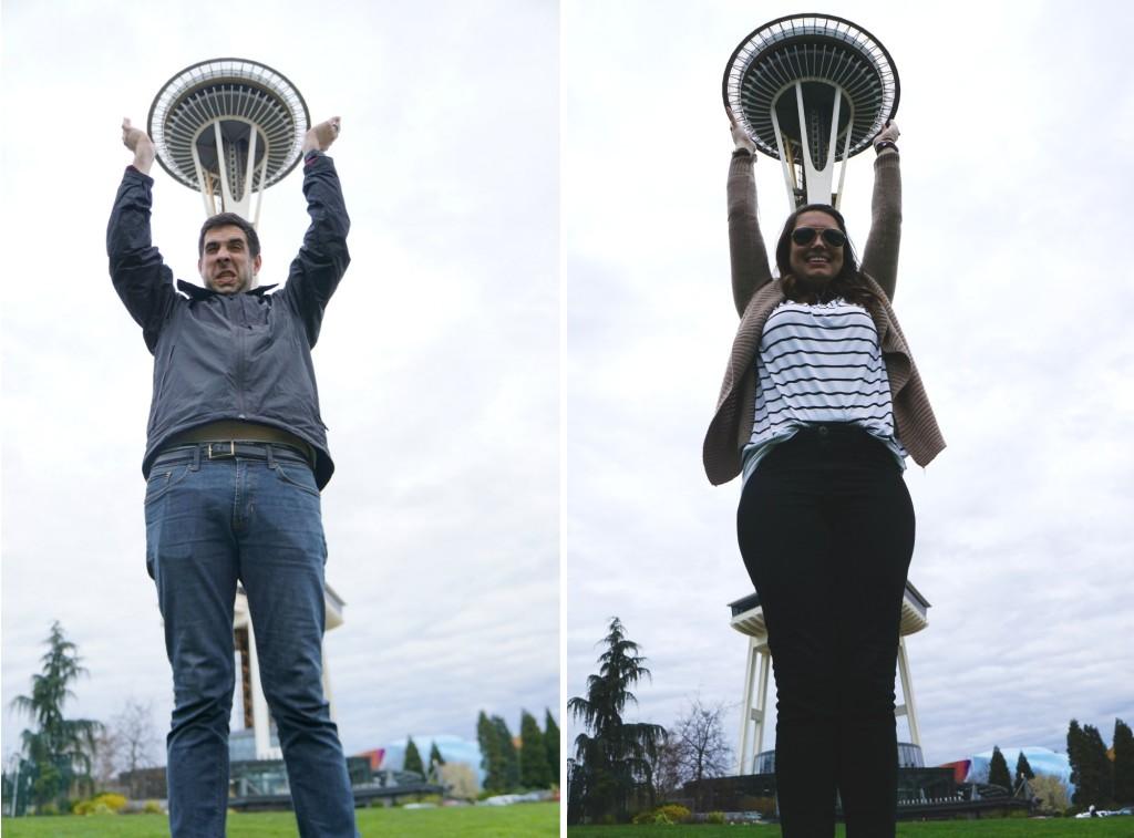 Holding The Space Needle in Seattle Washington