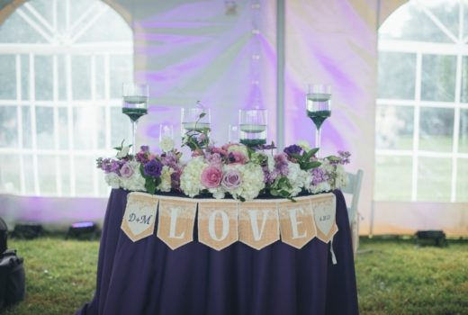 Purple and Mint Wedding Reception