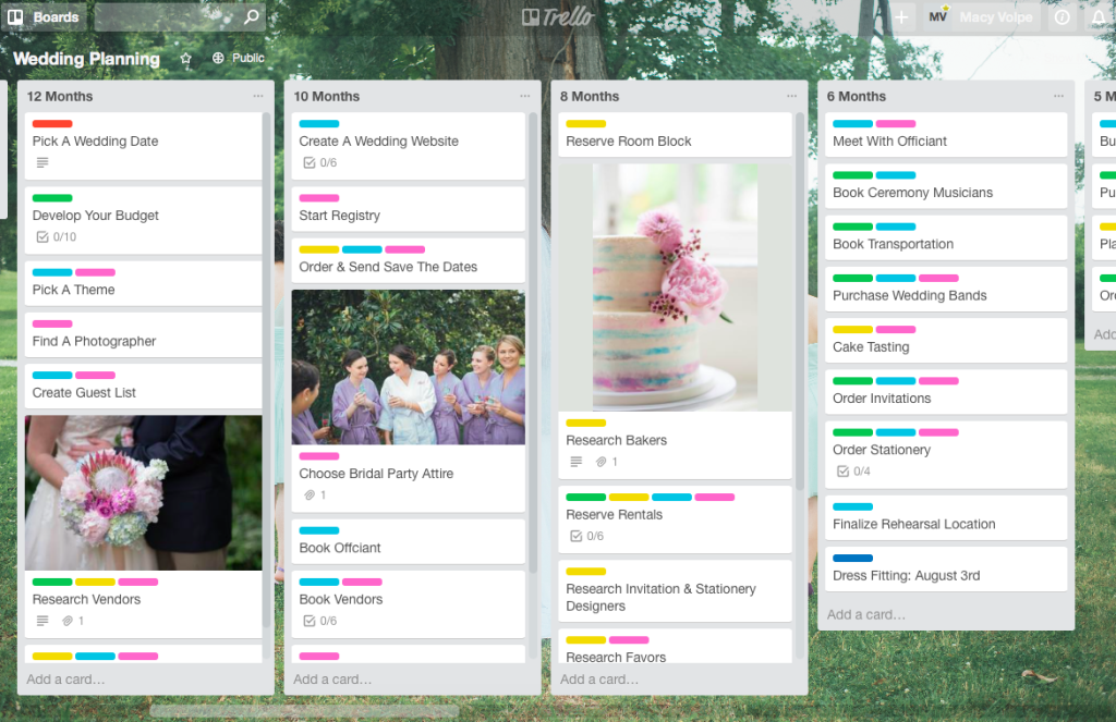 trello for wedding planning wedding wednesday link-up.